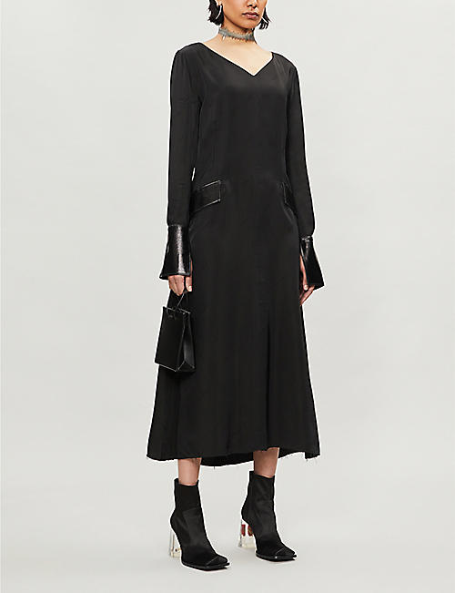 YANG LI Commercial contrast-cuffs crepe midi dress