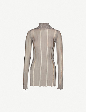 YANG LI High-neck striped panelled woven top