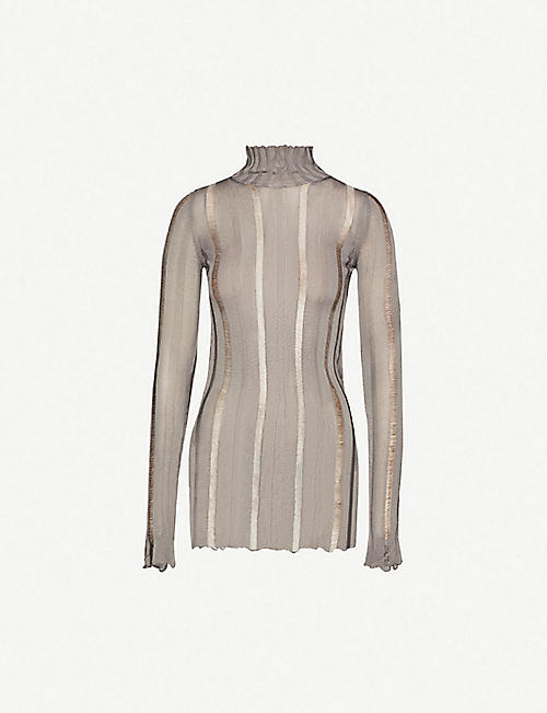 YANG LI: High-neck striped panelled woven top