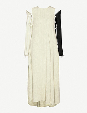 SONG FOR THE MUTE Drawstring-sleeve asymmetrical woven midi dress