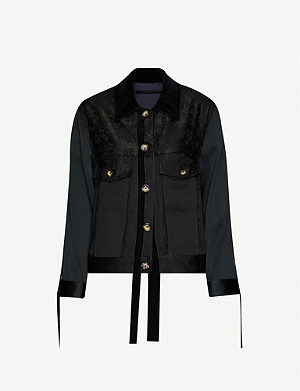 SONG FOR THE MUTE Contrast-panel frayed-trim crepe jacket