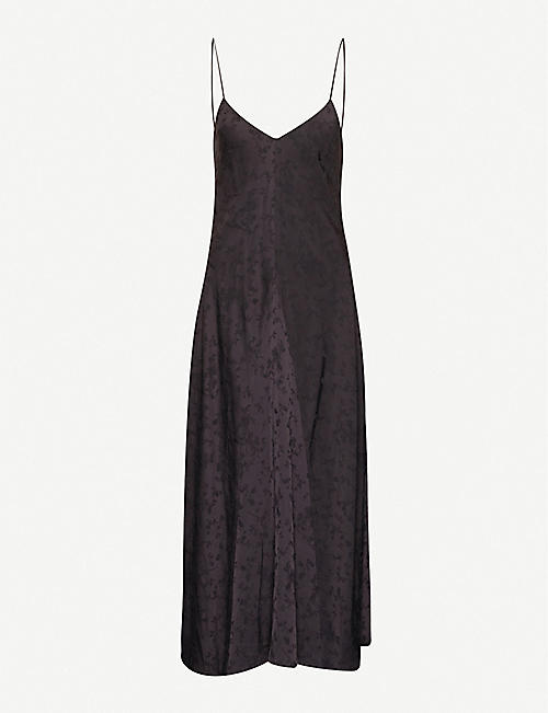 SONG FOR THE MUTE Floral-embroidered crepe maxi dress