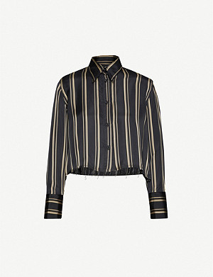 SONG FOR THE MUTE Cropped striped crepe shirt