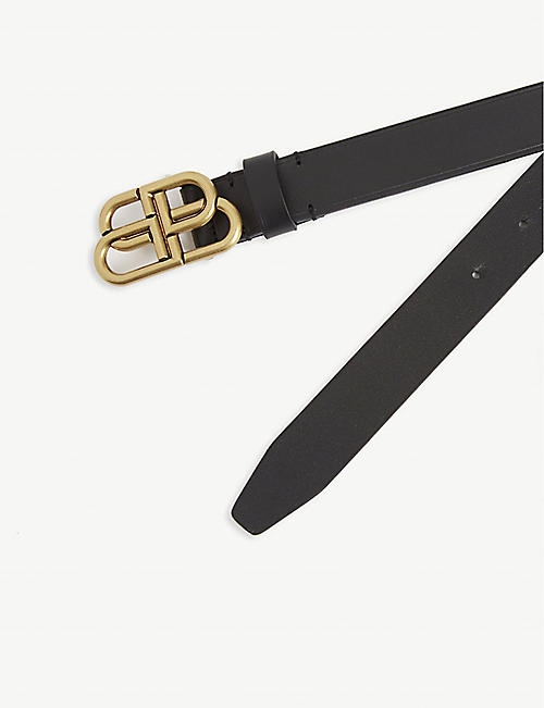 BALENCIAGA BB logo leather belt