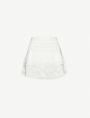 LOVESHACKFANCY Adelia ruffled high-rise cotton mini skirt