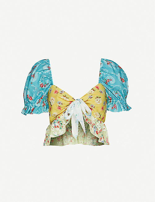 LOVESHACKFANCY Soleil floral-print ruffled cotton top