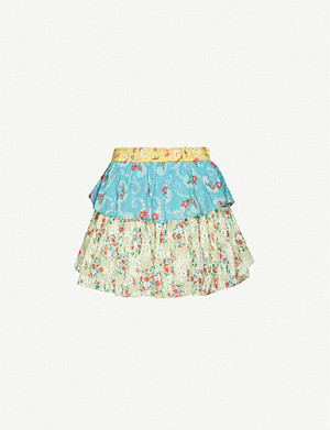 LOVESHACKFANCY Ruffle floral-print cotton mini skirt