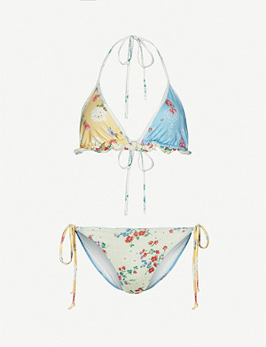 LOVESHACKFANCY Riveria floral-print bikini set
