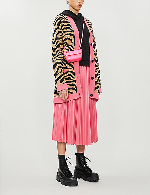 MSGM Animal-print V-neck cotton-blend knitted cardigan
