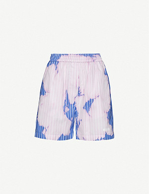 MSGM Bleached striped wide-leg cotton shorts