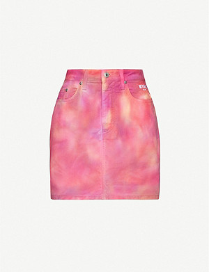 MSGM Tie-dye denim mini-skirt