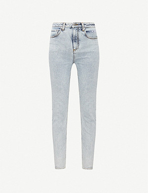MSGM Brand-embroidered slim-fit jeans
