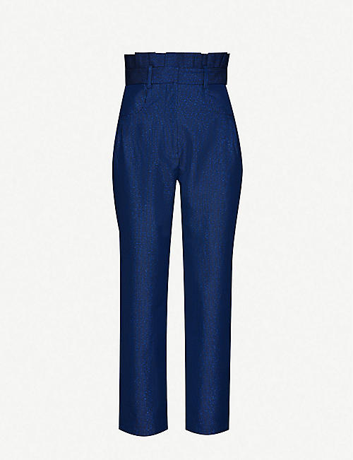 PAPER LONDON Paper bag-waist high-rise straight twill trousers