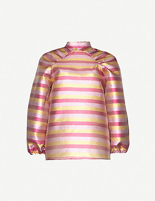 PAPER LONDON Luna striped metallic woven top