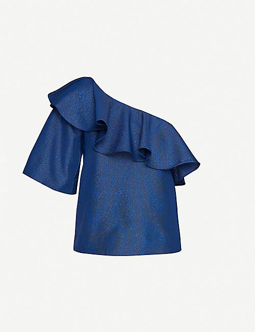 PAPER LONDON Chi Chi ruffled twill top