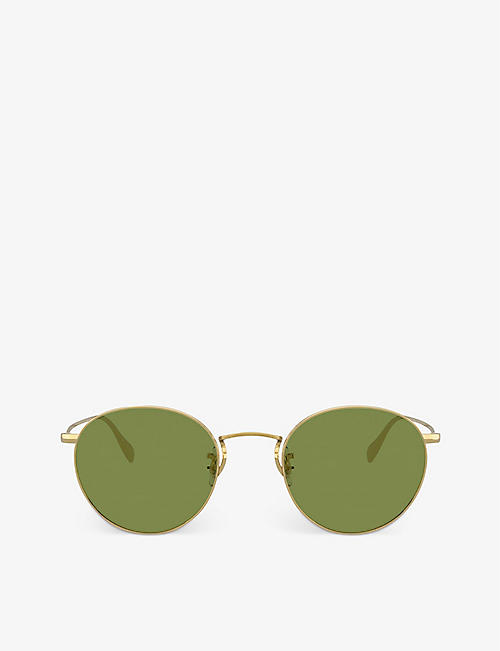 OLIVER PEOPLES: OV1186S Coleridge Sun metal and crystal round sunglasses