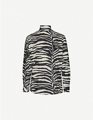DRIES VAN NOTEN: Abstract stripe-print funnel-neck cotton top