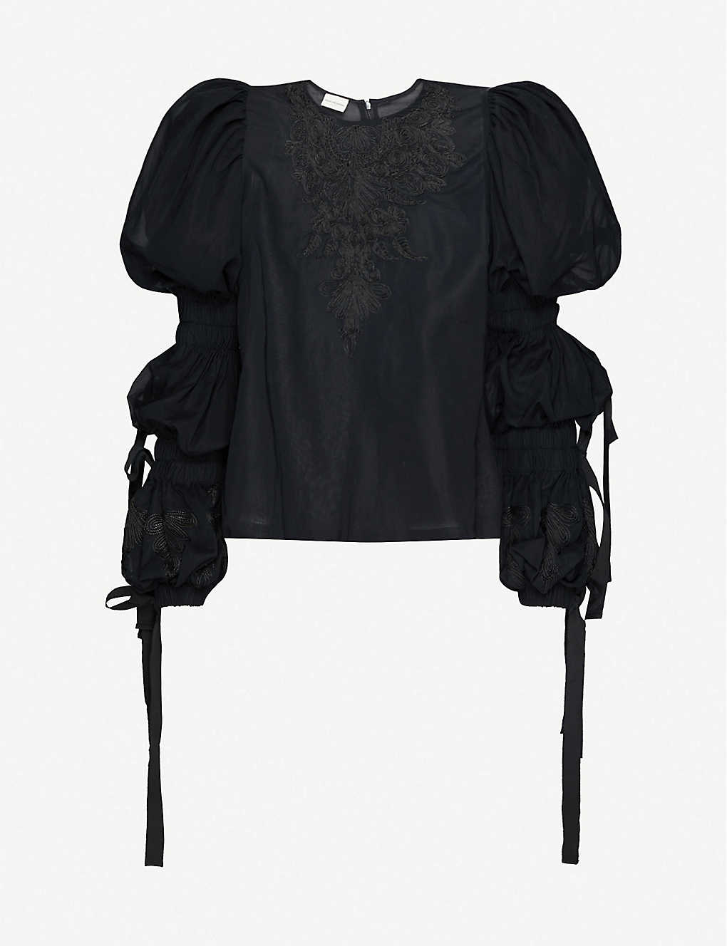 DRIES VAN NOTEN: Puff-sleeve embroidered cotton top