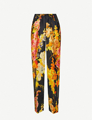 DRIES VAN NOTEN Floral-print wide-leg mid-rise satin trousers
