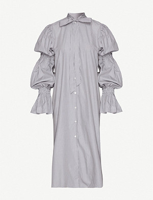 DRIES VAN NOTEN Gathered-sleeve cotton midi dress