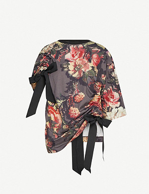 DRIES VAN NOTEN Floral-print draped cotton-jersey top