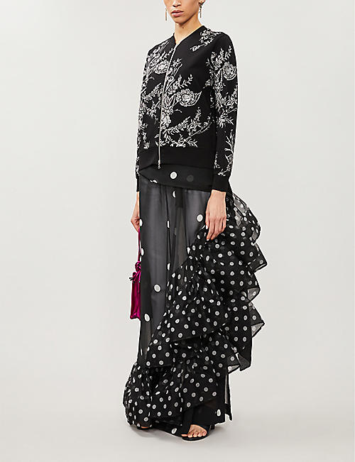 DRIES VAN NOTEN Floral-embroidered cotton-jersey jacket
