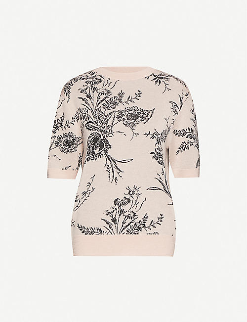 DRIES VAN NOTEN Floral-print cashmere-blend jumper