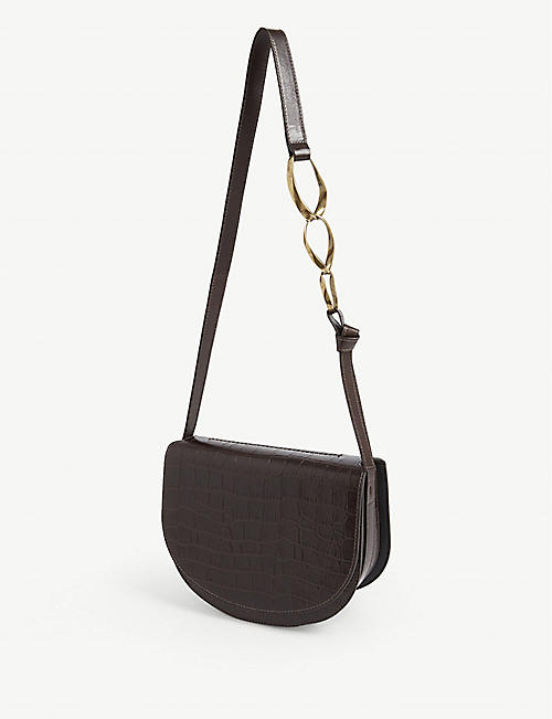 DRIES VAN NOTEN Croc-embossed leather saddle bag