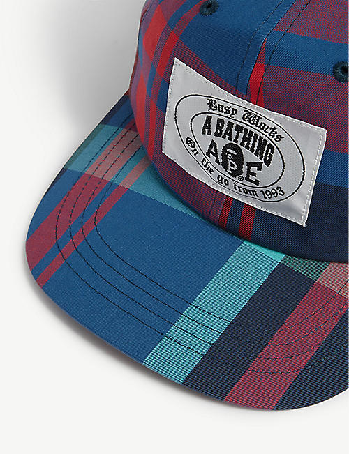 A BATHING APE Logo checked baseball cap