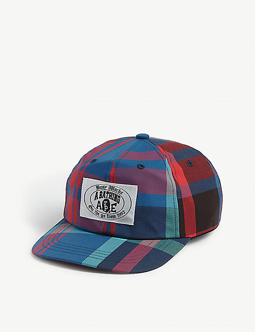 A BATHING APE: Logo checked baseball cap