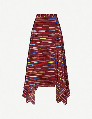 CHINTI AND PARKER: Striped silk-crepe midi skirt