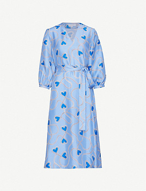 CHINTI AND PARKER Anni heart-print silk-satin midi dress