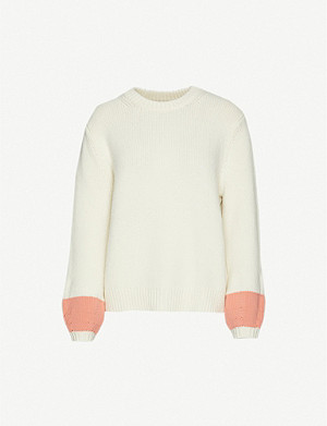 CHINTI AND PARKER Contrast-cuff wool and cashmere-blend jumper