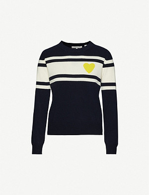 CHINTI AND PARKER Heart stripe wool and cashmere-blend jumper