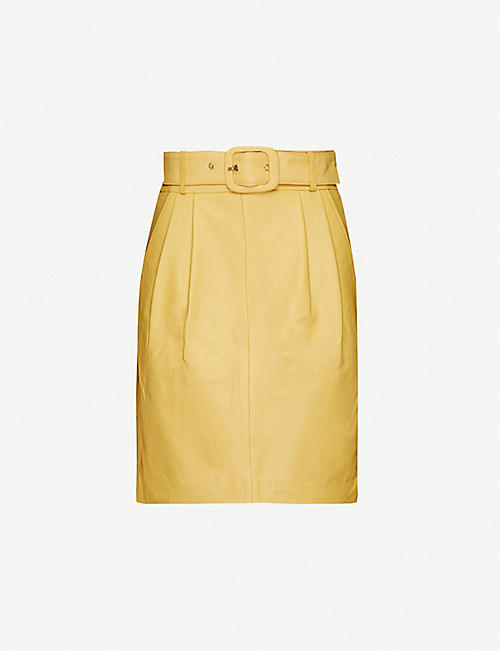 REMAIN BIRGER CHRISTENSEN: Flora belted leather mini skirt