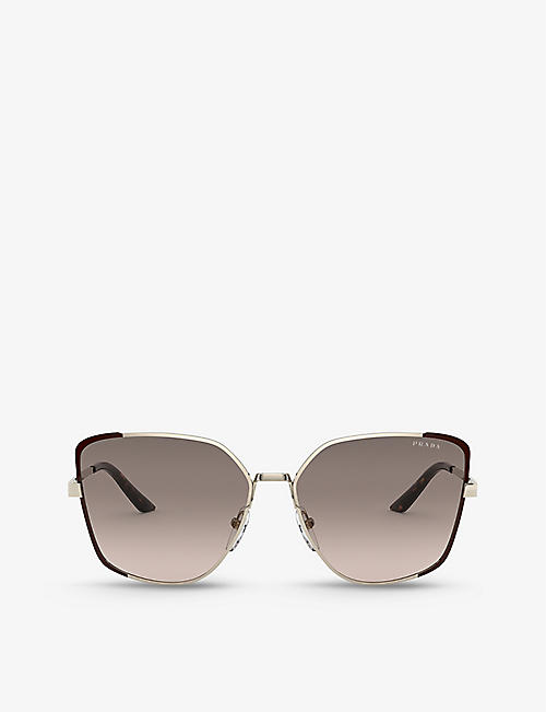 PRADA: PR 60XS metal and mirror-coated square sunglasses
