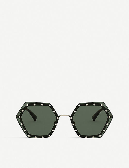 VALENTINO GARAVANI: VA2035 metal and acetate hexagonal-shape sunglasses