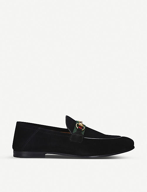 GUCCI: Brixton suede loafers