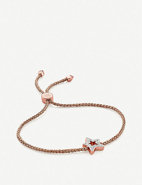 MONICA VINADER: Alphabet Star 18ct rose-gold vermeil and diamond friendship bracelet