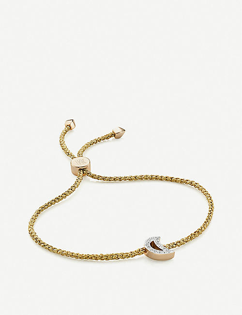 MONICA VINADER: Moon 18ct yellow-gold vermeil and diamond friendship bracelet