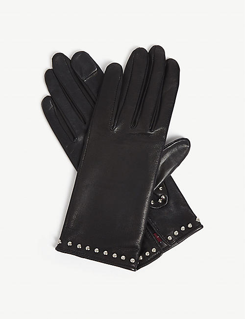 AGNELLE Marianne studded leather gloves