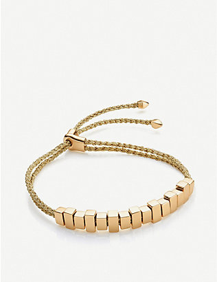 MONICA VINADER: Linear Ingot sterling silver woven friendship bracelet
