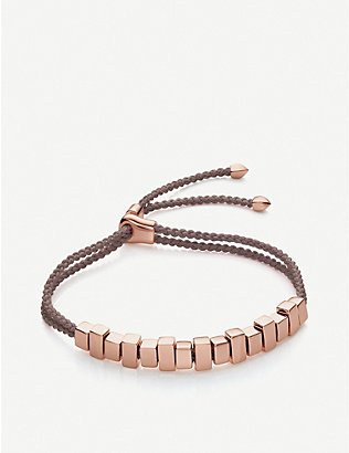 MONICA VINADER: Linear Ingot 18ct rose-gold vermeil woven friendship bracelet