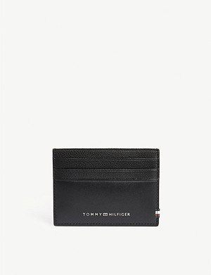 TOMMY HILFIGER Embossed logo leather card holder