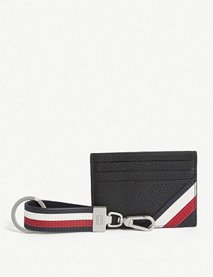 TOMMY HILFIGER Downtown striped leather card holder and keyring set