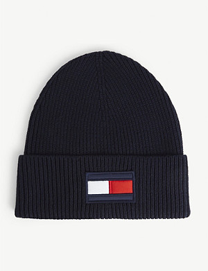 TOMMY HILFIGER Flag-appliqué wool-and-cotton blend beanie