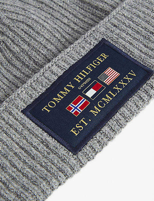 TOMMY HILFIGER Global flag-appliqué knitted beanie