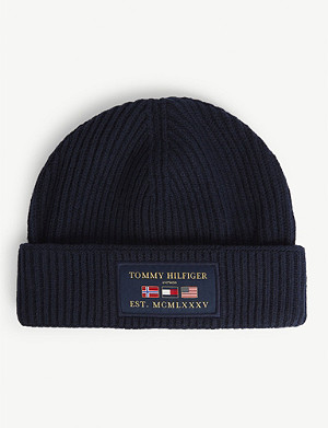 TOMMY HILFIGER Global flag-appliqué cotton-blend beanie