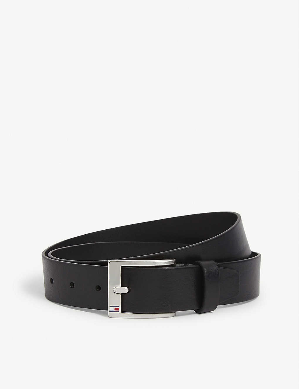 TOMMY HILFIGER: Enamel logo leather belt