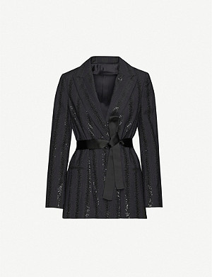 BRUNELLO CUCINELLI Sequin-embellished belted woven blazer